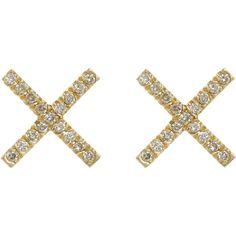 "Eva Fehren Champagne Diamond & Gold ""X"" Stud Earrings at Barneys.com Stud Finder, Champagne Diamond, Studs, Stud Earrings, Gold, Stud Earring, Stud Earring, Earring Studs, Stilettos"