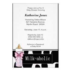 Milkaholic Baby Girl Shower Invitation