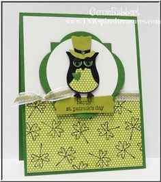 st+patty+home+made+card | StampinUp Owl punch St. Patrick's Day SUOC65 Leprechaun Owl