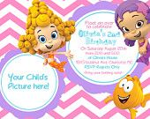 Bubble Guppy - Girls - Birthday Invite Card - Can be Personalized or Customized Invitation JPEG Printable Children Holiday. $6.50, via Etsy.