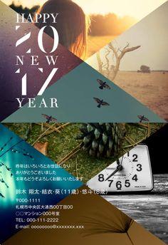 上級レイアウトデザイン|年賀状なら年賀家族2017 <公式>サイト Menu Design, Book Design, Layout Design, Triangle Design, Postcard Design, Web Layout, New Year Card, Japanese Design, Retail Design