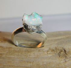 Sterling Silver Opal Ring Silver Ring Opal Stone by SagesLeaf