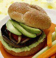 Portobella Mushroom Burger withAvocados - vegetarian burger.
