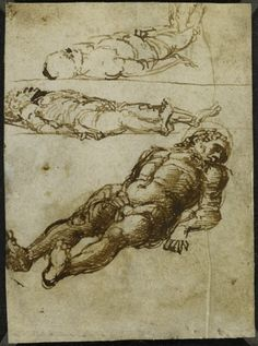 mantegna drawings | Mantegna – Three studies for a dead Christ, the body lying on the ...