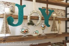 Create large letters/monograms using cardboard, glitter and spray adhesive!