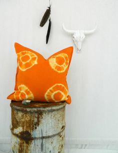 WANDERLUST . tie dye cushion cover . orange . by bohemianbabes