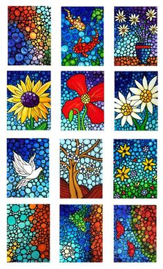 Colorful Mini Art Prints  Mosaic Art Genial uso de color