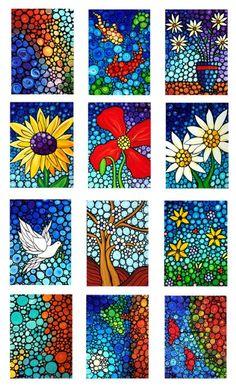 Colorful Mini Art Prints  Mosaic Art Genial uso de color