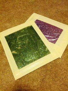 Gel glitter boards for clean and quiet sensory fun. 2-6 ounces clear hair gel in quart-sized freezer bag with glitter. Use less gel for writing practice. Press gel up so no air remains in bag and seal. Double bag for durability. Duct tape to a piece of cardboard...less than $0.50 a piece! I played with it for an hour in front of the TV...oddly relaxing.
