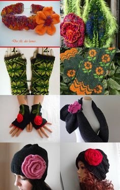 Fleurs tricotées by Reriro on Etsy--Pinned with TreasuryPin.com