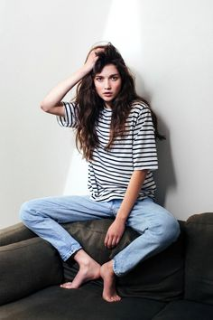 A Striped Tee And Jeans Are Perfect For A Laid-Back Weekend