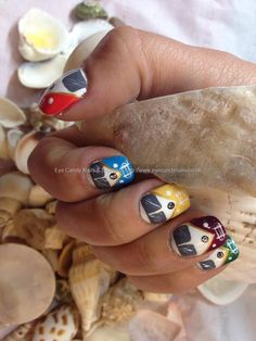 Glamping VW camper van freehand nail art over acrylic nails
