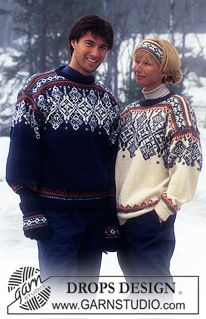 DROPS - DROPS Norwegian sweater with snow crystals, headband, hat, gloves and socks in Karisma Superwash. - Free pattern by DROPS Design Fair Isle Knitting Patterns, Fair Isle Pattern, Knit Patterns, Nordic Sweater, Men Sweater, Sweaters For Women, Pull Jacquard, Norwegian Knitting, Icelandic Sweaters