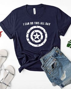 Cute Captain America shirt. Steve Rogers: I can do this all day.   This shirt is absolutely PERFECT to see the new Avengers Endgame shirt! Let everyone know who your #1 favorite hero is with this super soft Bella+Canvas shirt.