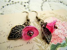 Hot Pink Floral and Leaf Earrings by Alyssabeths by Alyssabeths, $14.00