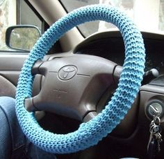 Free Knitting Pattern for Steering Wheel Cover - An easy cozy that can be adapted to fit any size steering wheel. Knit with two skeins of cotton yarn. Designed by Rachael Stern