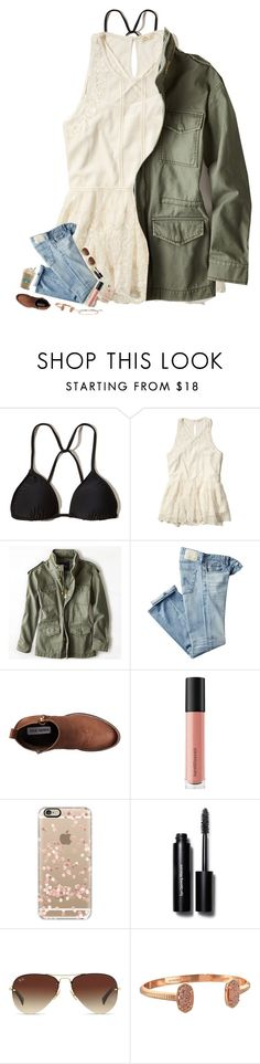 """Heading back to Charleston!!!"" by kat-attack ❤ liked on Polyvore featuring Hollister Co., American Eagle Outfitters, AG Adriano Goldschmied, Steve Madden, Bare Escentuals, Casetify, Bobbi Brown Cosmetics, Ray-Ban, Kendra Scott and Gorjana"