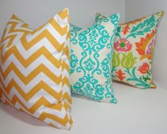 Trio OUTDOOR Pillow Covers Yellow Chevron Floral Santa Maria U0026 Turquoise  Blue Damask Deck Patio Pillow
