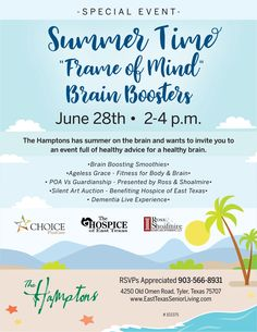 The Hamptons has summer on the brain and wants to invite you to an event full of healthy advice for a healthy brain. Join us on June 28th!