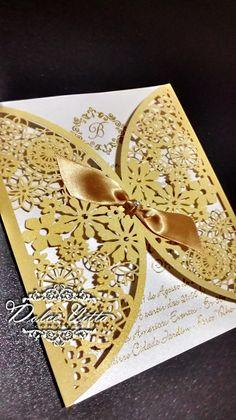 Criamos esse modelo para 15 anos da debutante Nermin corte a laser impressão de relevo dourada   convite muito charmoso papel da relux gold... Fun Fold Cards, Folded Cards, Wedding Anniversary, Wedding Day, Black N Yellow, Beauty And The Beast, Diy And Crafts, Bridal Shower, Champagne