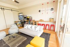Vintage video games and a custom built-in snack bar make this Arcade Game Room ready for kids and the whole family. #gameroom #urbanologydesigns