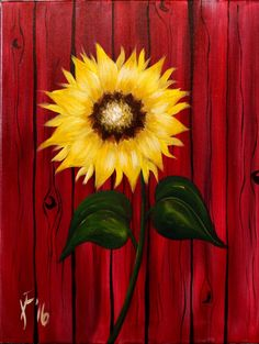 Autum Sunflower Step by Step Acrylic Painting on Canvas for Beginners