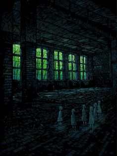 Spooky illustrations from Daniel Danger from Boston. House On Haunted Hill, Haunted Mansion, Illustrator, Arte Obscura, Sense Of Place, Silhouette, Dark Art, Cool Art, Awesome Art