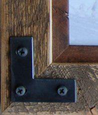 Rustic Frame - Corner Sample Only- distressed barn wood frame - metal corner brackets