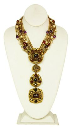 CHANEL Gold Multistrand Medallion Necklace W. Gripoix, Pearls & Medallions 1984