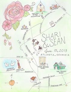 Adorable custom wedding map that even includes the couple's dog!