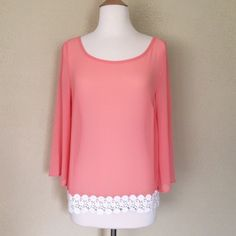 HOST PICK Beautiful coral peach top The perfect spring top with beautiful crochet detail at the bottom 100% polyester Sweet Xylia Tops