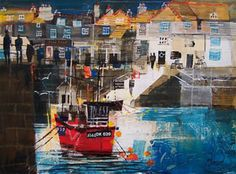 Mixed Media Painting: Harbour Slipway, Padstow - Hobbies paining body for kids and adult Mixed Media Artists, Mixed Media Painting, Mike Bernard, Places In Cornwall, Seaside Theme, Building Illustration, Landscape Paintings, Oil Paintings, Boat Building