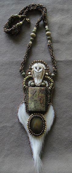 "A owl ""totem"" style necklace."