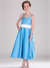 Ankle Length Spaghetti Strapped Satin Flower Girl Dress with Bow Sash