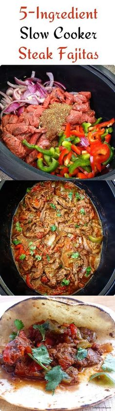Slow Cooker/Instant Pot Steak Fajitas (Low-Carb, Paleo, There are only in this flavorful slow cooker steak fajitas recipe.There are only in this flavorful slow cooker steak fajitas recipe. Crock Pot Recipes, Crockpot Dishes, Beef Recipes, Cooking Recipes, Healthy Recipes, Delicious Recipes, Crock Pots, Vegetarian Cooking, Recipies