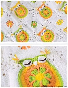 We are loving the adorable owl blanket by in our current issue and as there are so many babies due in the next few months it looks like this pattern will get lots of use! Crochet Square Blanket, Crochet Squares, Baby Blanket Crochet, Crochet Baby, Crochet Afghans, Owl Baby Blankets, Owl Blanket, Cute Blankets, Crochet Owls