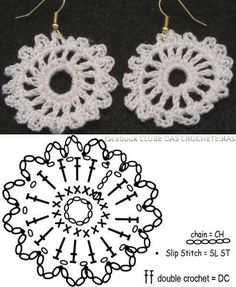 19 Ideas crochet jewelry earrings wire bracelets You are in the right place about crochet crafts Here we offer you the most beautiful pictures about. Crochet Earrings Pattern, Crochet Jewelry Patterns, Crochet Motifs, Crochet Diagram, Crochet Chart, Thread Crochet, Crochet Accessories, Crochet Designs, Crochet Stitches