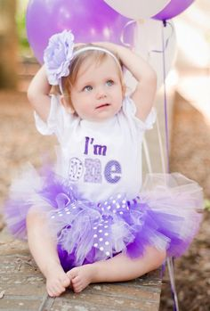 Personalized Purple Polka Dots I'm One First Birthday Tutu Outfit - More Colors Available