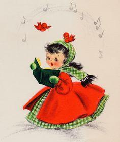 #retrochristmas, #christmascaroler, Vintage Christmas Card, Christmas Music