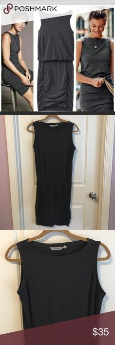 """Athleta Sleeveless Tulip Dress Athleta Tulip Dress-Tank style. Charcoal grey- ruching on both sides. Made of 56% cotton, 38% modal, and 6% spandex. Size small. Gently worn with minor wash wear. Measures 38.5"""" long. Athleta Dresses Midi"""