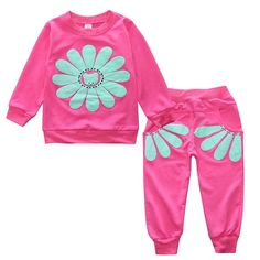 25ebabfab 2018 New 2 pieces Winter Spring children clothing set baby girls sports suit  sunflower casual costume