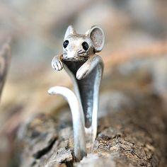 Animal Mouse Ring Retro Burnished Rat Ring Adjustable Wrap Free Size Gift Box #Authfashion #Band
