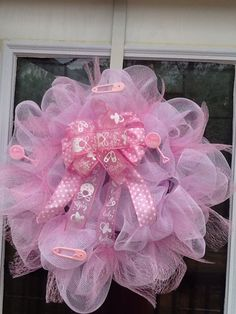 Baby girl deco mesh wreath on Etsy, $30.00