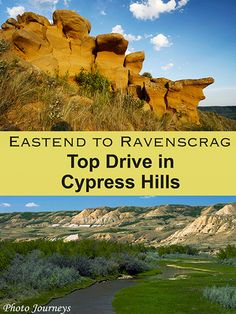 The drive along the Frenchman River Valley between Eastend and Ravenscrag, Saskatchewan, is one of the top drives in the province for scenery. Vacation Trips, Vacations, Places To Travel, Places To Visit, Road Trip Map, Saskatchewan Canada, Cypress Hill, Plywood Floors, Canadian Travel