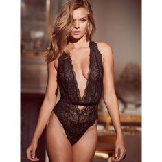 Victoria's Secret Strappy Plunge Teddy (265 SEK) ❤ liked on Polyvore featuring intimates, black, lingerie, lace lingerie, teddy lingerie, strappy lingerie, see through lingerie and sheer lingerie - lingerie, dress, fantasy, seduction, for curvy women, dress lingerie *ad