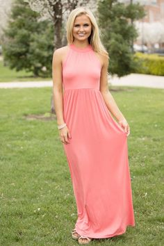 Focus On Our Love Maxi Dress Coral - The Pink Lily
