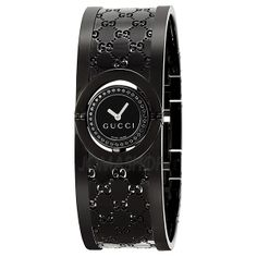 Gucci Twirl Black Dial Black Bangle Bracelet Ladies Watch YA112529