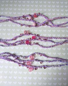 Pink white lilac 3 crochet Bracelet children friendship Kids