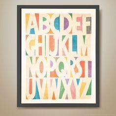 Block print alphabet retro kids' print