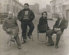 Four artists included in the exhibition 'This is Tomorrow'   by Nigel Henderson  vintage bromide print, 1956 - Nigel Graeme Henderson (1917-1985)  Sir Eduardo Luigi Paolozzi (1924-2005),   Alison Margaret Smithson (1928-1993),   Peter Denham Smithson (1923-2003)